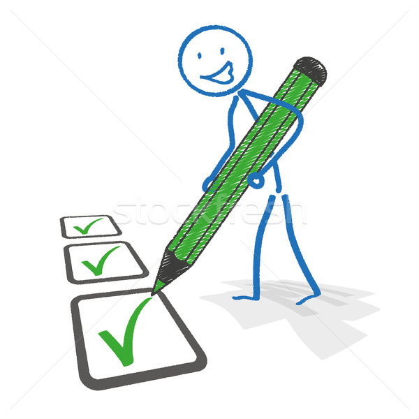Stickman Checklist Pen Stock photo © limbi007