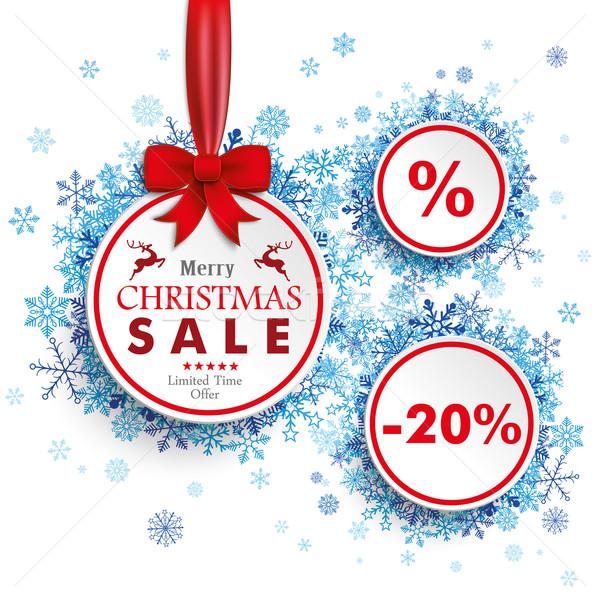 White Sale Circles Red Ribbon Blue Snowflakes Stock photo © limbi007