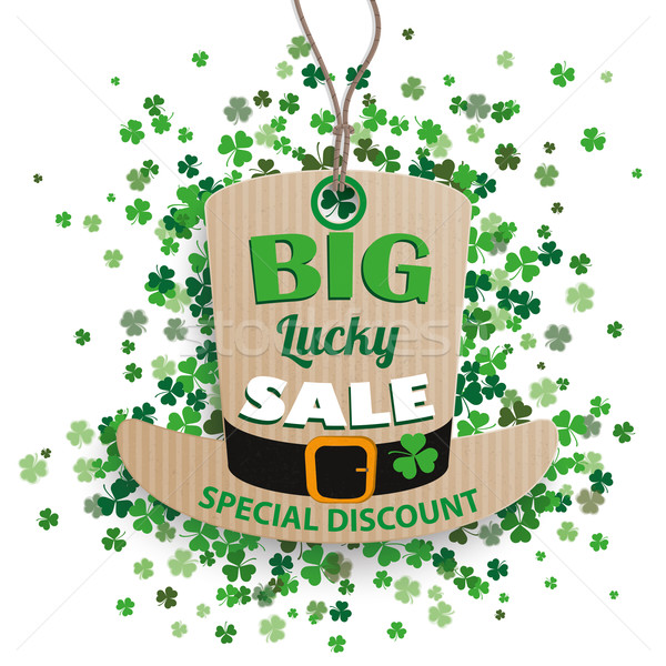 St Patricks Day Sale Hat Price Sticker Shamrocks Stock photo © limbi007