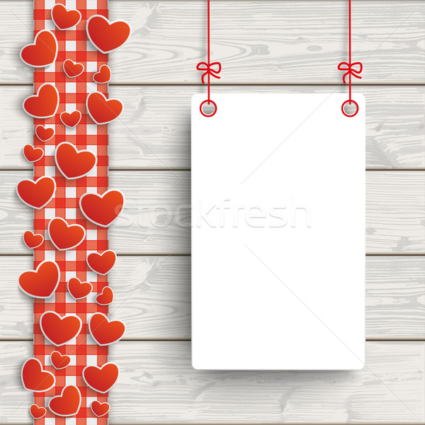 Wooden Planks Red Checked Tablecloth Hearts Board Stock photo © limbi007