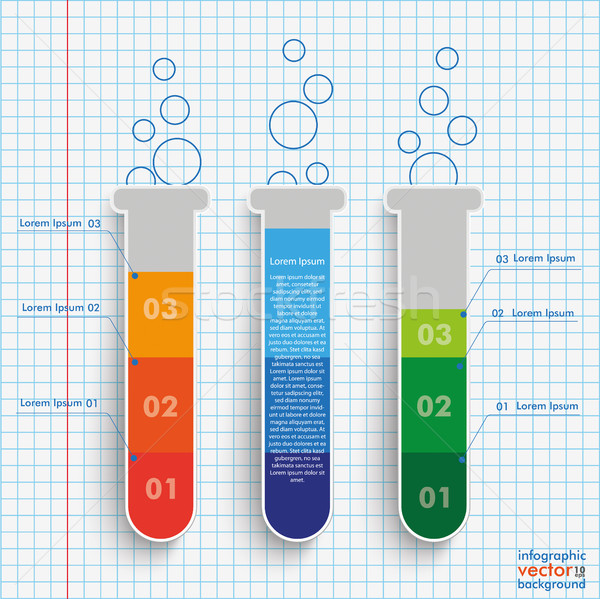 Test Tubes Infographic Checked Paper Stock photo © limbi007