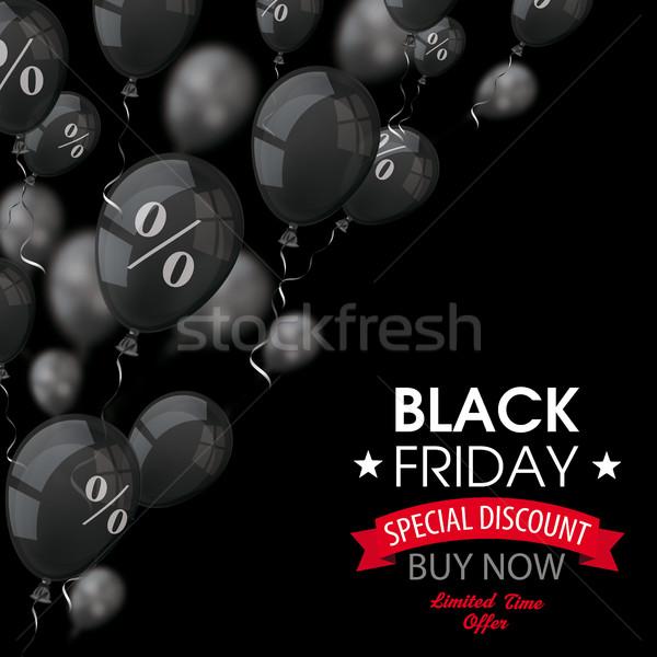 черная пятница черный шаров охватывать текста белый Сток-фото © limbi007