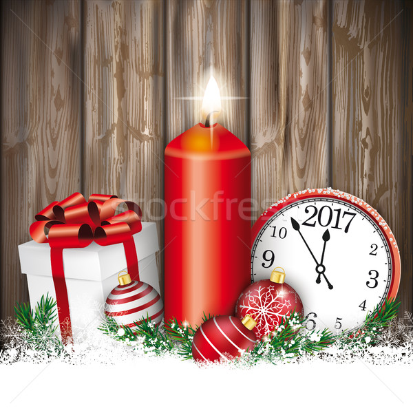 Christmas Worn Wood Candle Clock Gift Baubles Stock photo © limbi007