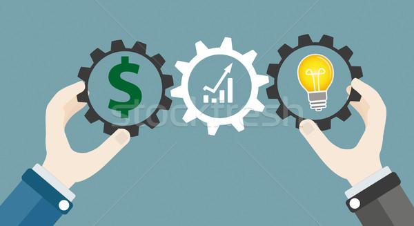 Hands Gears Idea Bulb Dollar Investor Concept Success Stock photo © limbi007