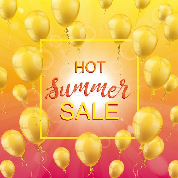 Hot Summer Sale Sun Golden Balloons Frame Stock photo © limbi007