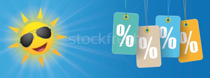 Sun Sunglasses Smiley Price Stickers Percent Header Stock photo © limbi007
