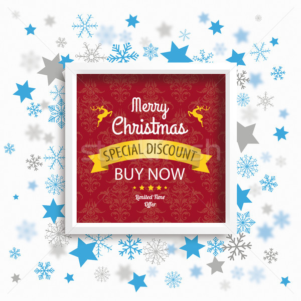 Frame Christmas Sale Stars Snowflakes Red Ornaments Wallpaper Stock photo © limbi007