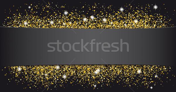Black Paper Banner Golden Sand Stock photo © limbi007