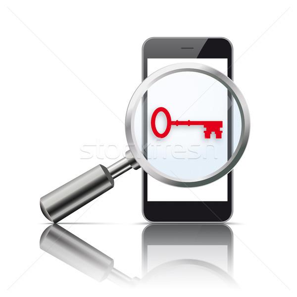 Black Smartphone Loupe Mirror Red Key Stock photo © limbi007