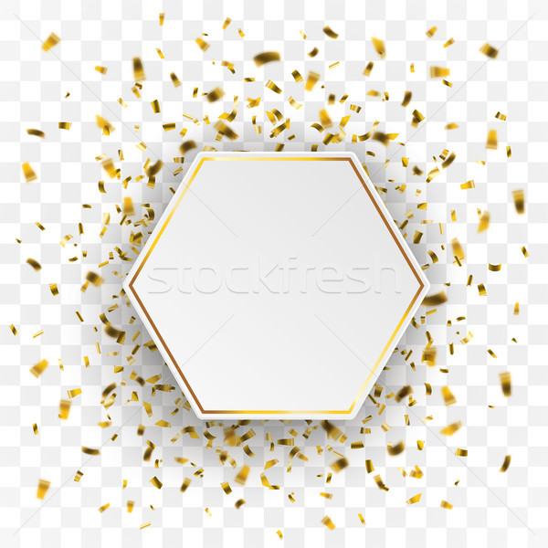 Arany hatszög konfetti átlátszó papír eps Stock fotó © limbi007