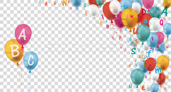Colored Letters Balloons Header ABC Transparent Stock photo © limbi007