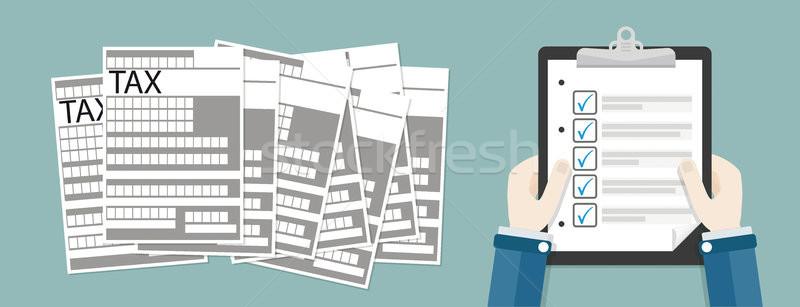 Hand Clipboard Checklist Tax Header Stock photo © limbi007