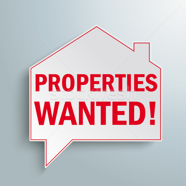 Paper House Building Speech Bubble Properties Wanted Stock photo © limbi007