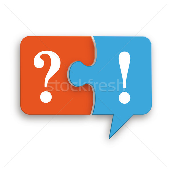 Paper Speech Bubble Puzzle Question Exclamation Mark Stock photo © limbi007