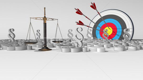 Nyaláb egyensúly cél fehér 3d illusztráció törvény Stock fotó © limbi007