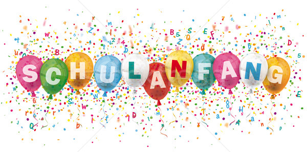 Schulanfang Header Colored Balloons Confetti Explosion Letters Stock photo © limbi007