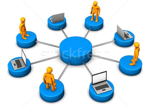 Mobil hálózat laptopok narancs üzlet internet Stock fotó © limbi007