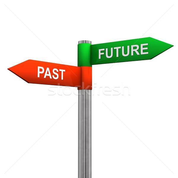 Foto stock: Passado · futuro · direção · assinar · poste · de · sinalização · dois