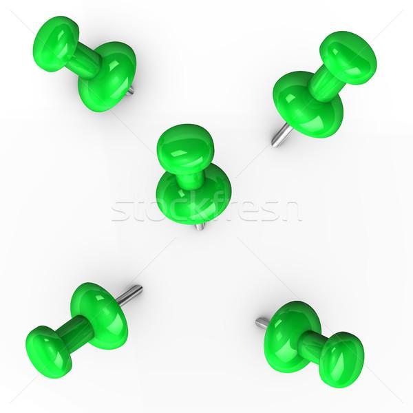 Green Thumbtacks Stock photo © limbi007
