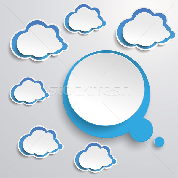 Blue White Thought Bubble With Clouds Stock photo © limbi007