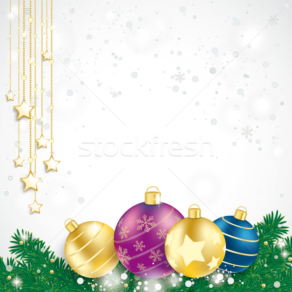 Colored Baubles Fir Branches Chain Stars Stock photo © limbi007