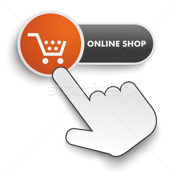 Online bolt gomb kéz kurzor fehér Stock fotó © limbi007