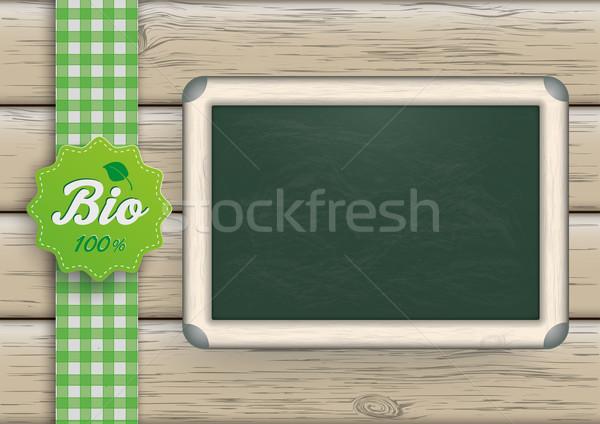 Bio tableau noir bois alimentaire étiquette bois Photo stock © limbi007
