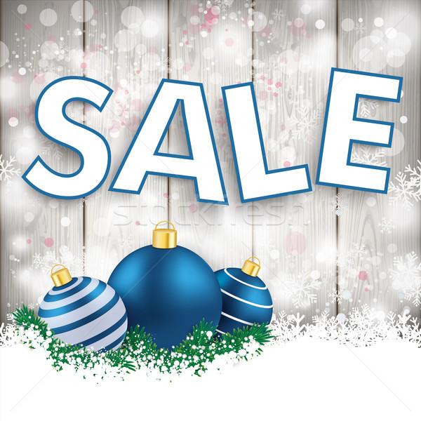 Snowfall Wood Blue Baubles Sale Stock photo © limbi007