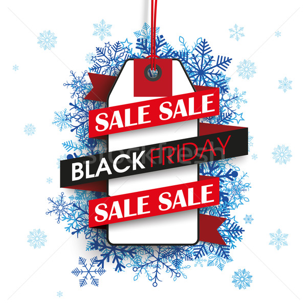Black friday fita preço adesivo azul flocos de neve Foto stock © limbi007
