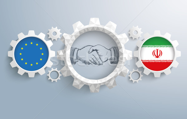Iran European Union Partnership Gear Handshake Stock photo © limbi007