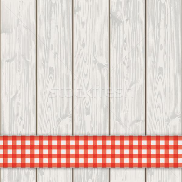 Ahşap kırmızı masa örtüsü eps 10 Stok fotoğraf © limbi007