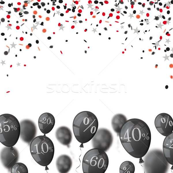 Black Friday Cover Confetti Stars Balloons Stock photo © limbi007