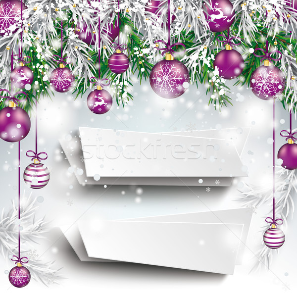Stock photo: Christmas Frozen Green Twigs Purple Baubles 2 Banners