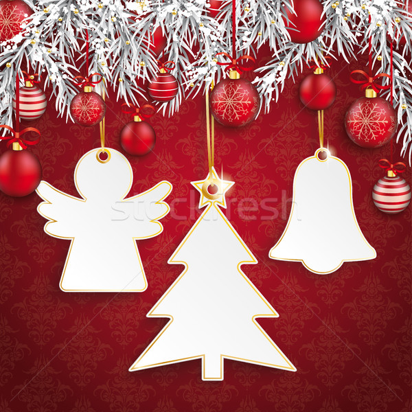 Christmas Ornaments Baubles Twigs 3 Stickers Angel Stock photo © limbi007