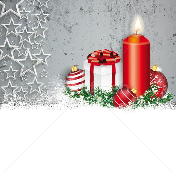 Konkrete Weihnachten rot Schnee Kerze Sternen Stock foto © limbi007