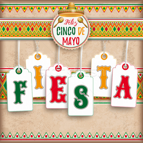 Cinco De Mayo Emblem Vintage Fiesta Stock photo © limbi007