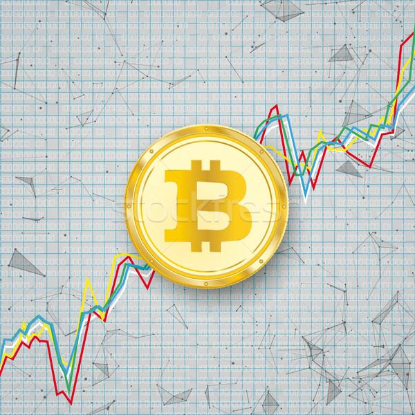 Tabla dorado bitcoin moneda digital red Foto stock © limbi007