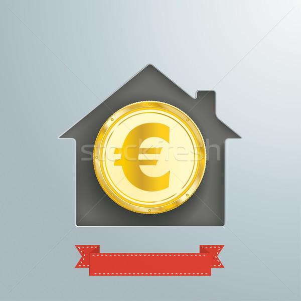 House Hole Silver Golden Euro Coin Stock photo © limbi007