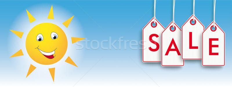 Hanging Price Stickers Funny Sun Face Stock photo © limbi007