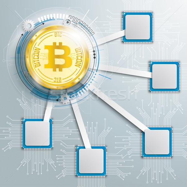 Infografika alaplap bitcoin terv arany érme Stock fotó © limbi007