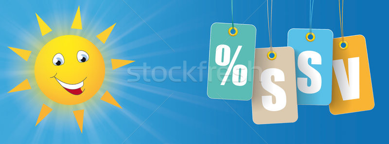 Sun Smiley Colored Price Stickers SSV Header Stock photo © limbi007