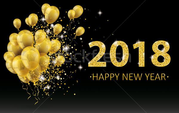 Złoty nowy rok balony cząstki konfetti czarny Zdjęcia stock © limbi007