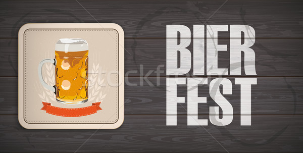 Stock photo: Dark Wooden Background Beer Coaster Bierfest
