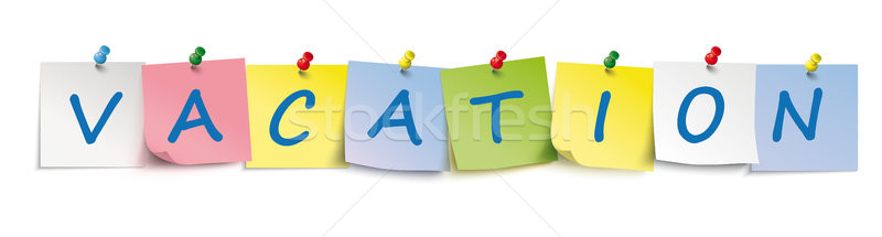 Vakáció színes fejléc matricák szöveg eps Stock fotó © limbi007