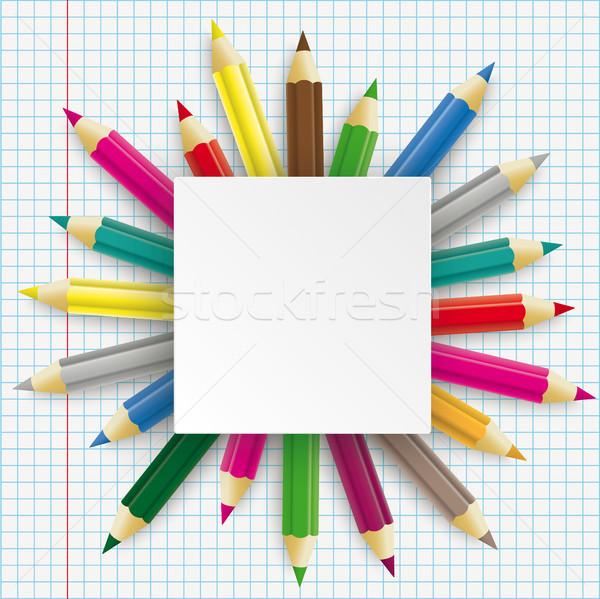 Photo stock: Crayons · rectangle · emblème · papier · eps
