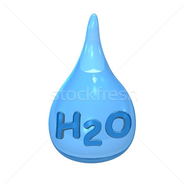 Stock photo: Blue Water Drop H2O