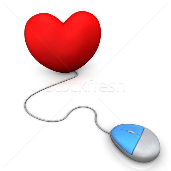 Serca pc myszą czerwony biały Internetu Zdjęcia stock © limbi007