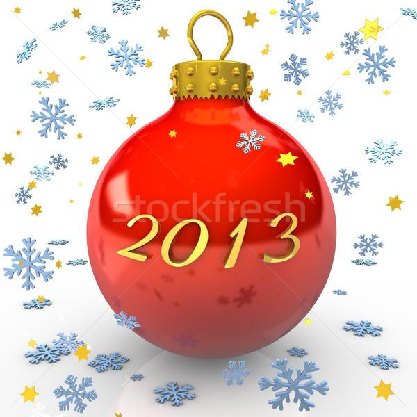 2013 tekst christmas cacko płatki śniegu gwiazdki Zdjęcia stock © limbi007