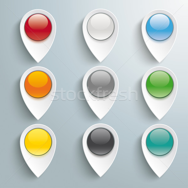 9 Lacation Markers Colored Buttons Stock photo © limbi007