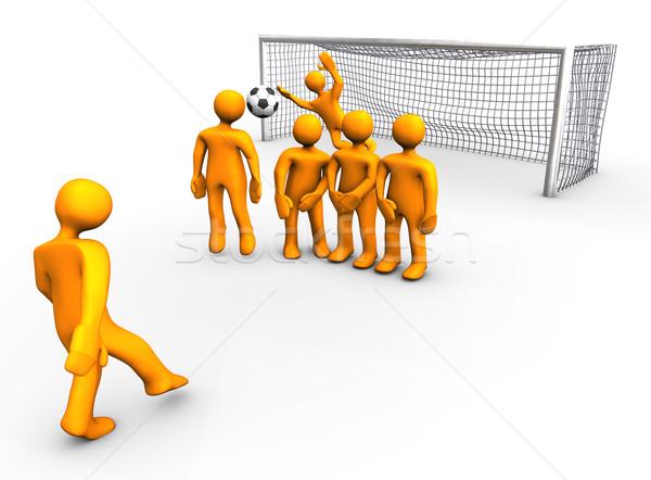 サッカー ゲーム 3次元の図 ルックス オレンジ ヒューマノイド ストックフォト © limbi007